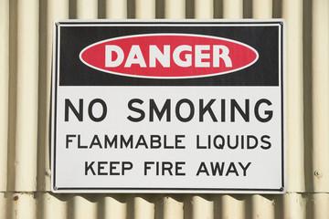 Danger sign no smoking at building outdoor
