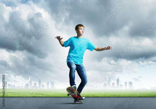 Teenager on skateboard
