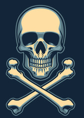 classic skull with crossed bones
