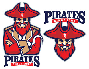 half body pirate mascot
