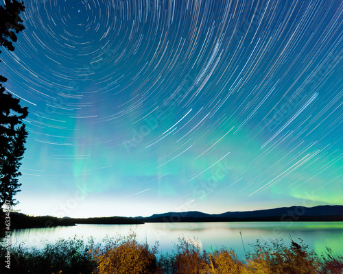 Startrails Aurora borealis display Lake Laberge