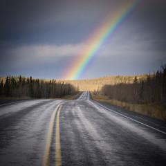 Rainbow country road dark Yukon nature landscape