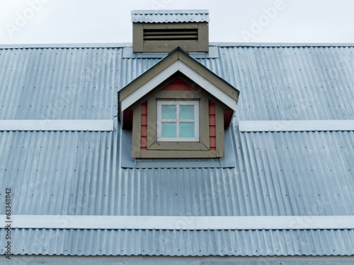 Metal roof small dormer window architecture detail