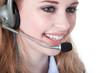 junge frau mit headset im call center lächelt