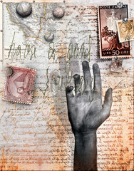Background with letter,hand and stamps