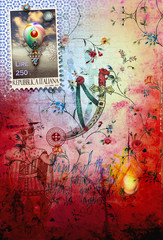 Graffiti background with balloon and stamp