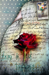 Old letter with red rose and stamp