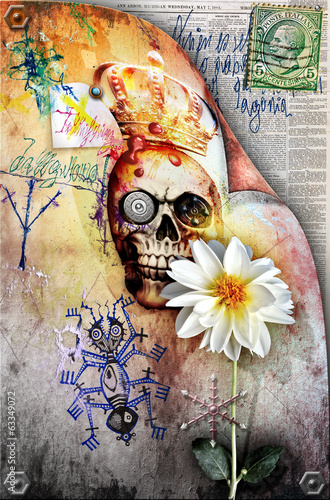 Fantastic postcard with old stamp,skull and white flower