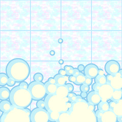 Vector background: foam in the shower and bath