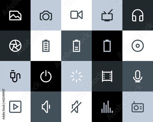 Multimedia icons. Flat