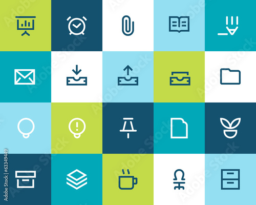 Office icons set. Flat