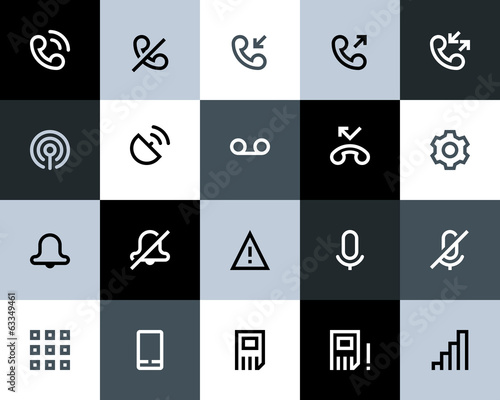 Telephone and call logs icons. Flat