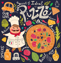 Pizza design menu with chef