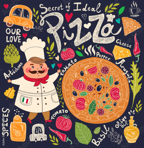 Fototapeta Pizza design menu with chef