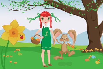 Redhead girl and playful bunny on Easter egg hunt