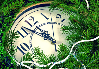 Image clock with Christmas and New Year decorations