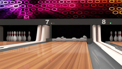 Animation of Bowling Strike. Bowling Ball crashing into the Pins