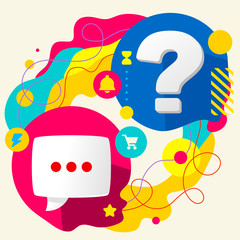 Speech bubble and question mark on abstract colorful splashes ba