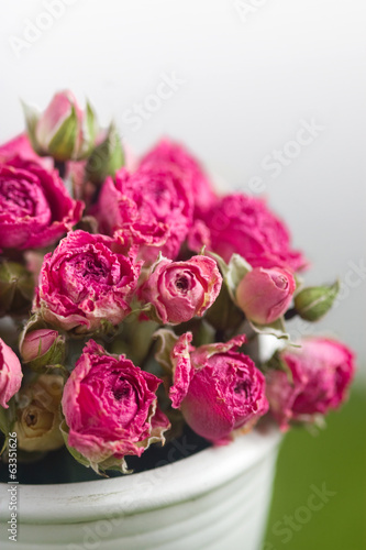 pink roses in a decorative bucket