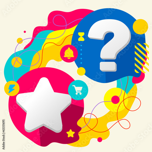 Star and question mark on abstract colorful splashes background