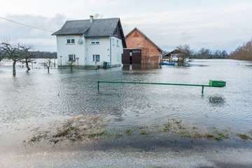 House surrounded with water