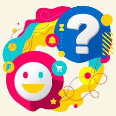Smile and question mark on abstract colorful splashes background