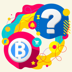 Bit coin and question mark on abstract colorful splashes backgro
