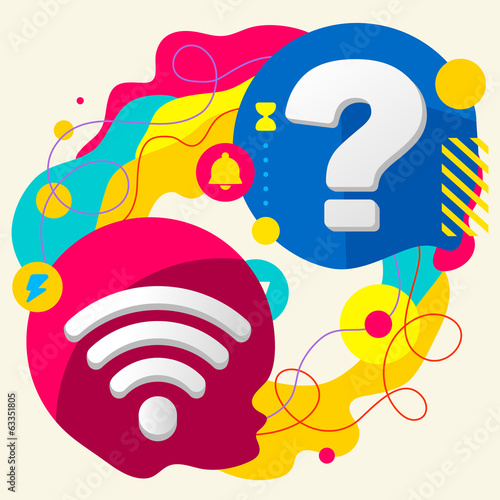 Wi fi and question mark on abstract colorful splashes background