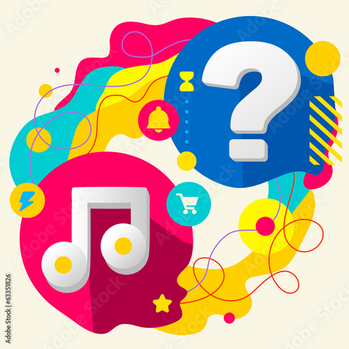 Note and question mark on abstract colorful splashes background