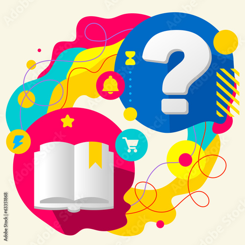 Book and question mark on abstract colorful splashes background