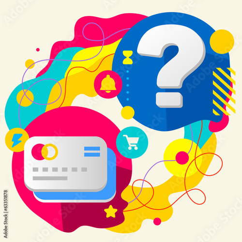 Bank cards and question mark on abstract colorful splashes backg