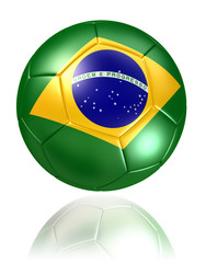 brazil flag on soccer ball on white background