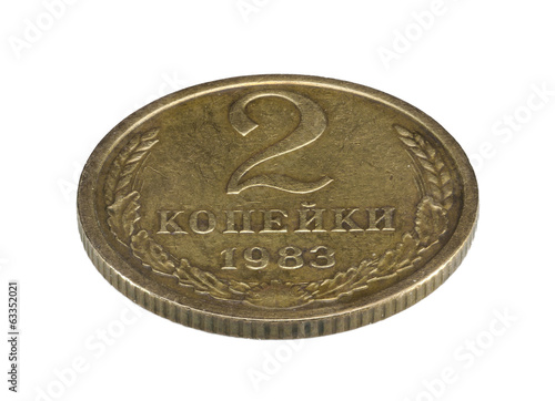Old Soviet two copecks coin isolated on white background