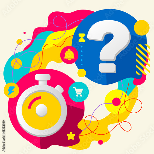 Stopwatch and question mark on abstract colorful splashes backgr