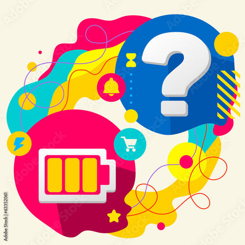 Battery and question mark on abstract colorful splashes backgrou