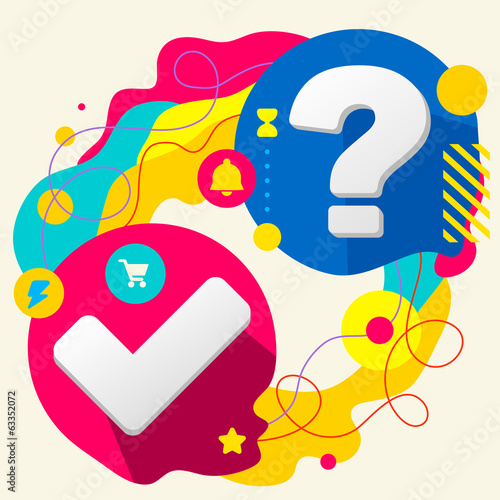 Tick and question mark on abstract colorful splashes background