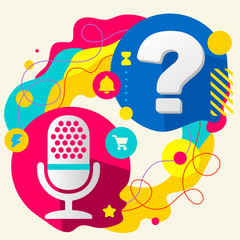 Microphone and question mark on abstract colorful splashes backg