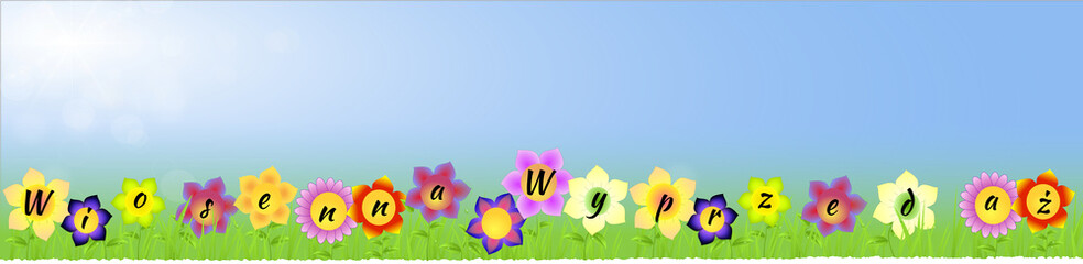 Banner with Spring sale on the flowers in Polish