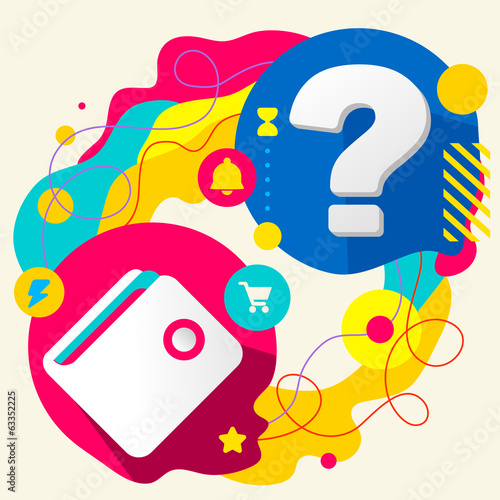 Wallet and question mark on abstract colorful splashes backgroun