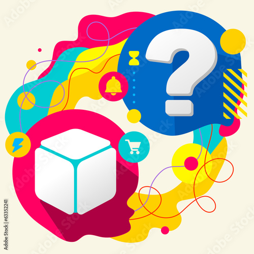 Cube and question mark on abstract colorful splashes background
