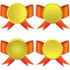 Set of golden medals