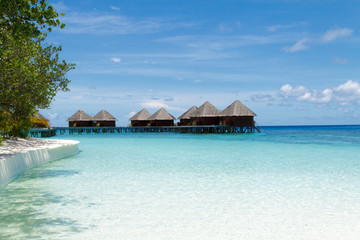 Water villas and beautiful shallow Maldives