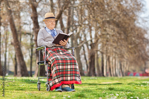 Elderly gentleman reading a book in park