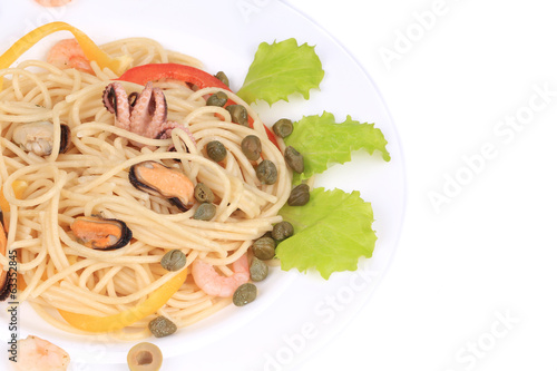 Sea salad with spaghetti.
