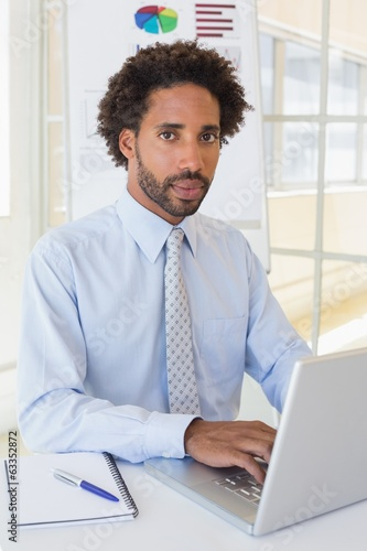 Portrait of businessman using laptop at office desk