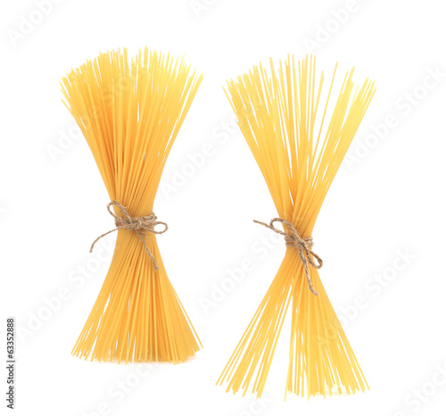 Close up of Spaghetti isolated.