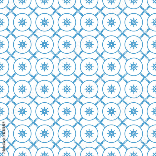 Rope and steering wheel seamless pattern