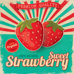 Colorful vintage Strawberry label poster vector illustration