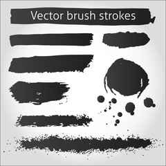 Set of vector grunge ink strokes and blot