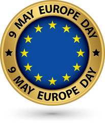 9 may Europe day gold label, vector illustration